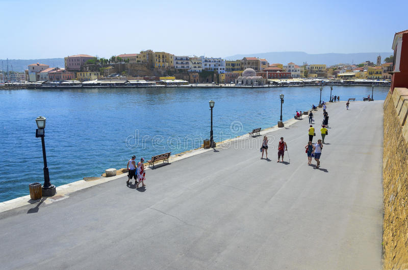 Greece - Crete - Chania - Promenade with tourists stock images