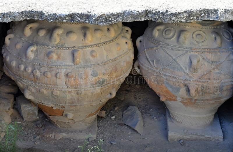Greece, Crete Island, ancient amphora in Phaistos royalty free stock photo