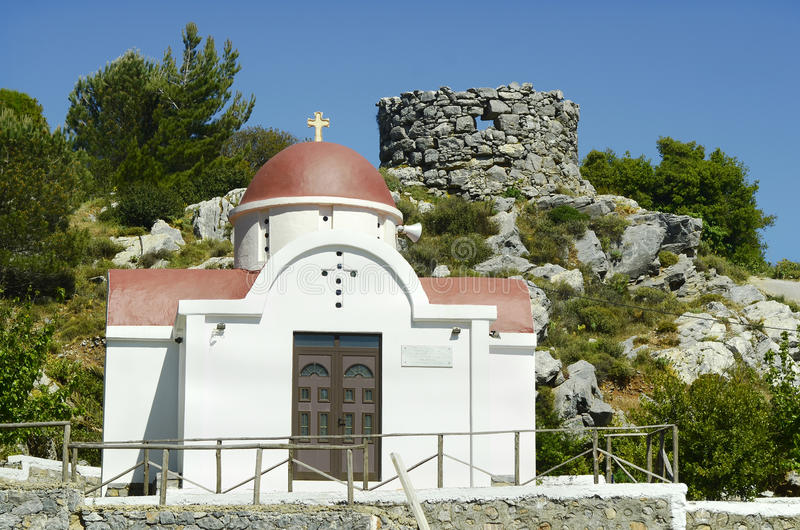 Greece, Crete, Lassithi. Greece, Crete, chapel and ruin of a tower in Lassithi royalty free stock photo