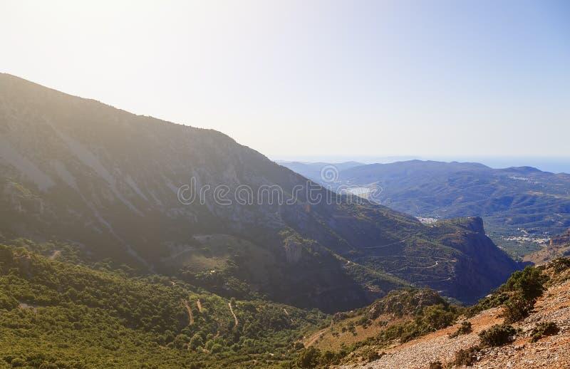 Greece. Crete. Pass Seli-Ambelu. Panorama towards Lassithi Plateau. Greece. Crete. Pass Seli-Ambelu. Panorama towards the Lassithi Plateau stock photo