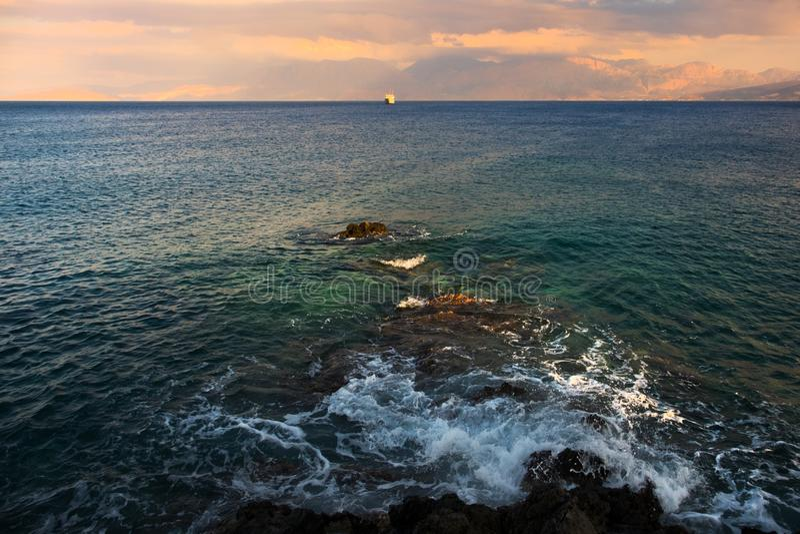 Greece crete Sea Por do sol fotos de stock