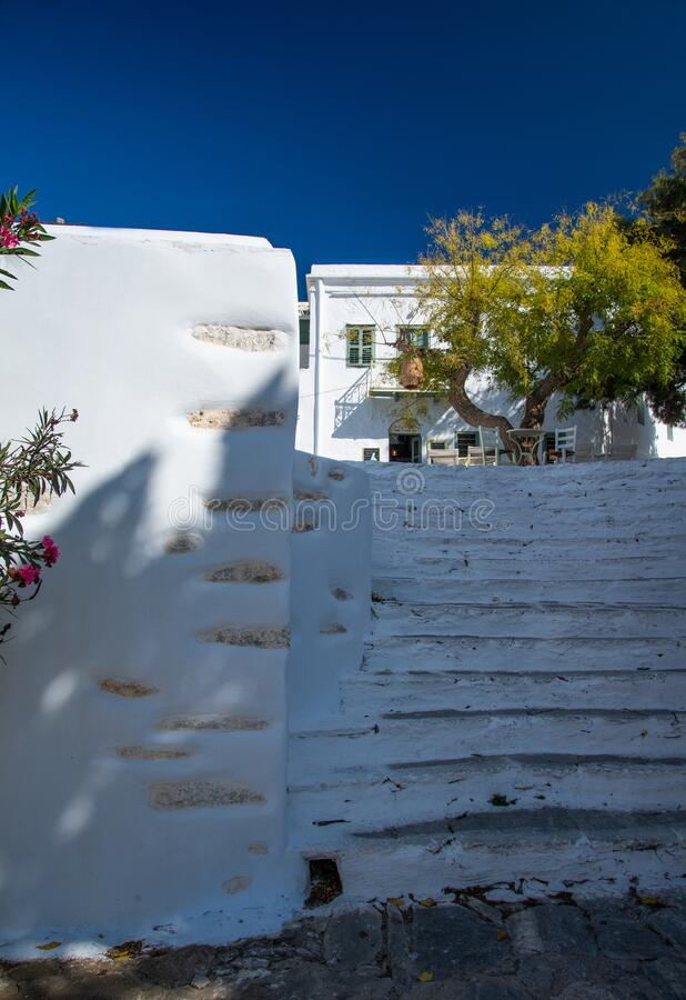 Greece, Cyclades,Amorgos island, old village Chora steps and street cafe stock images