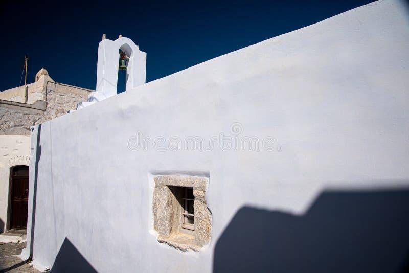 Greece, Cyclades, Amorgos island, old village Chora white church royalty free stock image