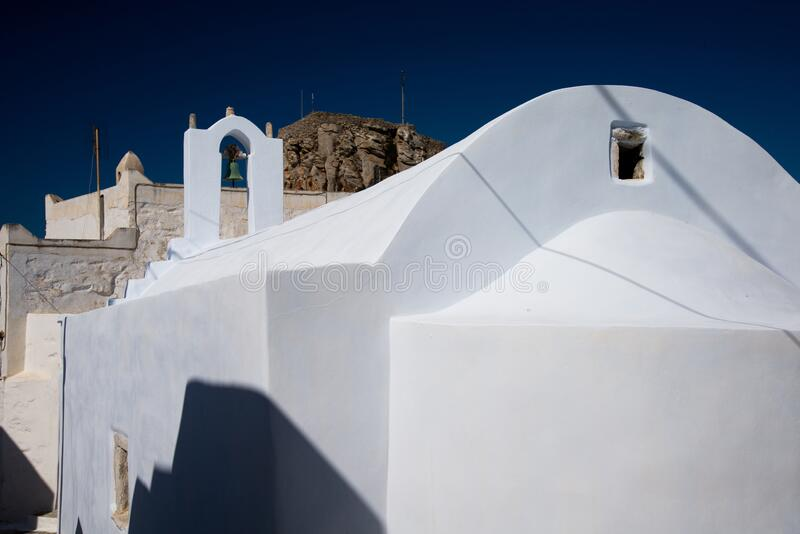 Greece, Cyclades, Amorgos island, old village Chora white church stock photo