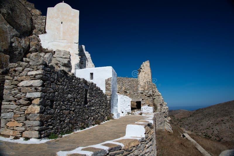 Greece, Cyclades, Amorgos island, old village Chora white church stock photos