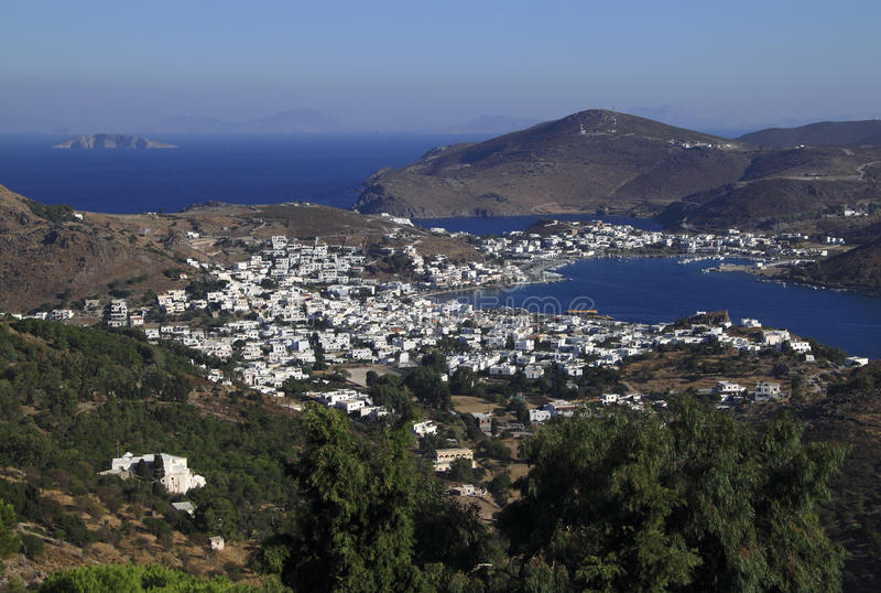 Greece Dodecanese Islands Patmos. Skala viewed from Monastery of Saint John the Theologian - Unesco World heritage site stock photos