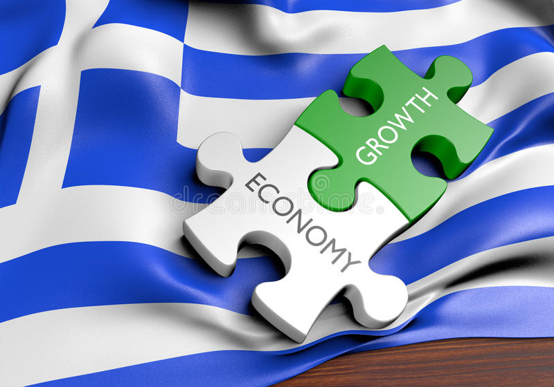 Greece economy and financial market growth concept. 3D rendered concept of Greece`s economy and financial market growth stock illustration