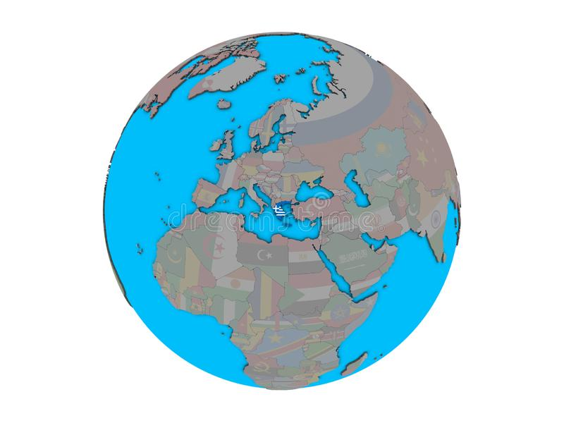 Greece with flag on globe isolated vector illustration
