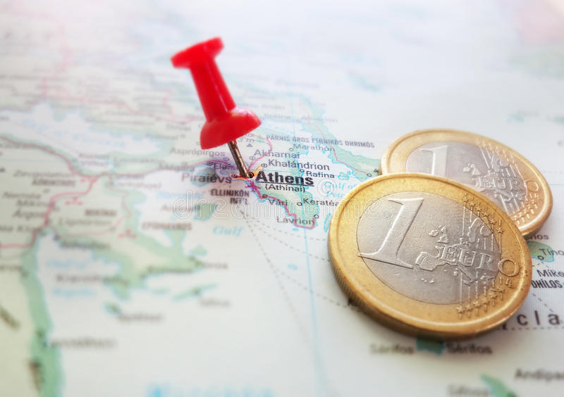 Greece Euro map. Closeup of a Greece map with Euro coins royalty free stock images