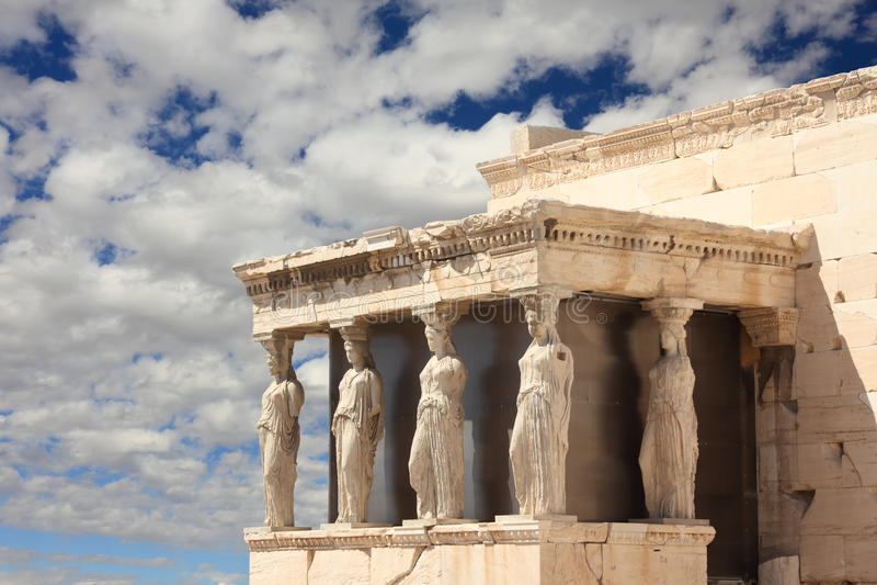 greece för acropolisathens caryatid farstubro royaltyfri bild