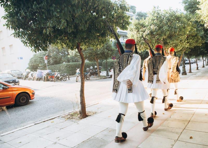 Greece för presidents- vakt för uppdelningsvaktheder marschera arkivbilder