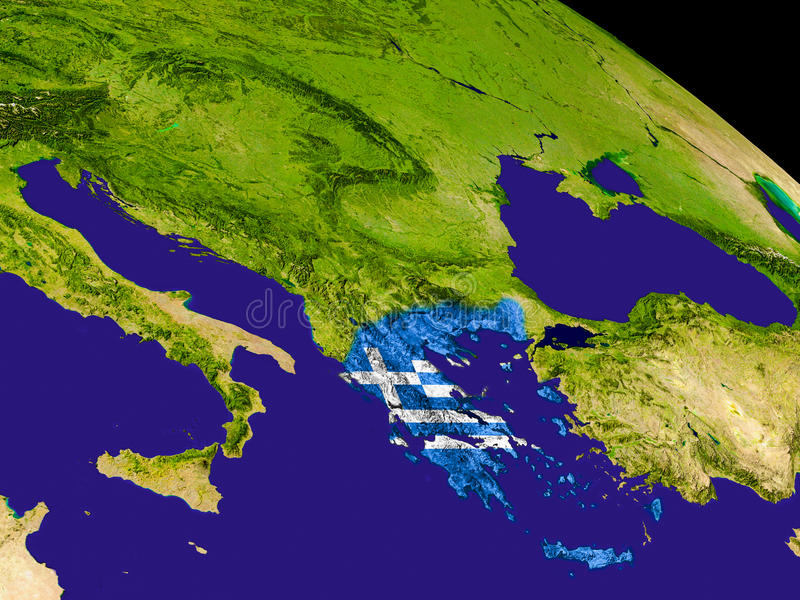 Greece with flag on Earth royalty free illustration