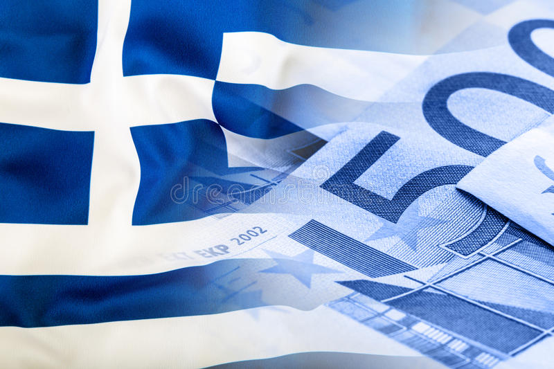 Greece flag. Euro money. Euro currency. Colorful waving greece flag on a euro money background stock photos