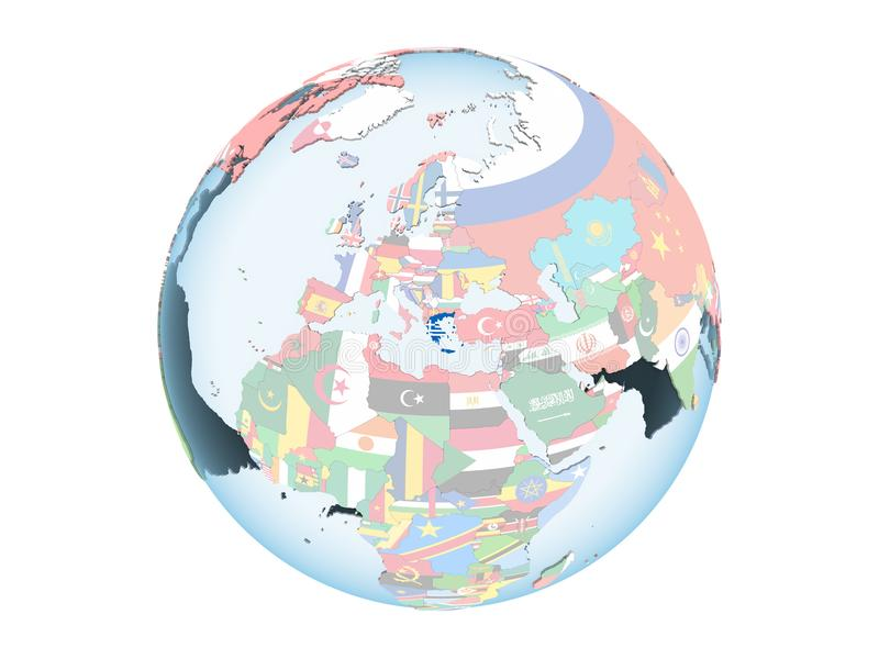 Greece with flag on globe isolated royalty free illustration