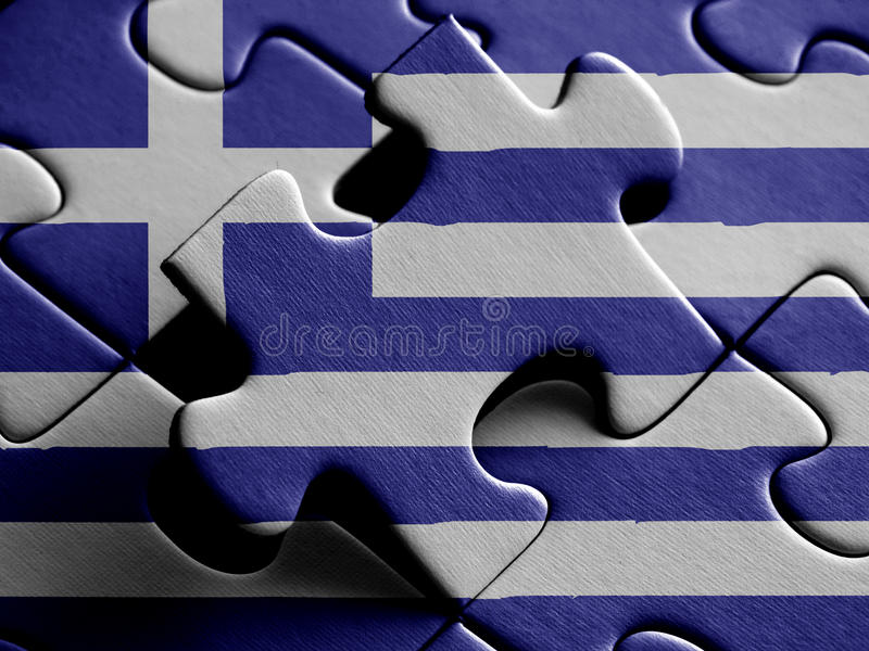 Greece FLAG PAINTED ON PUZZLE nice royalty free illustration