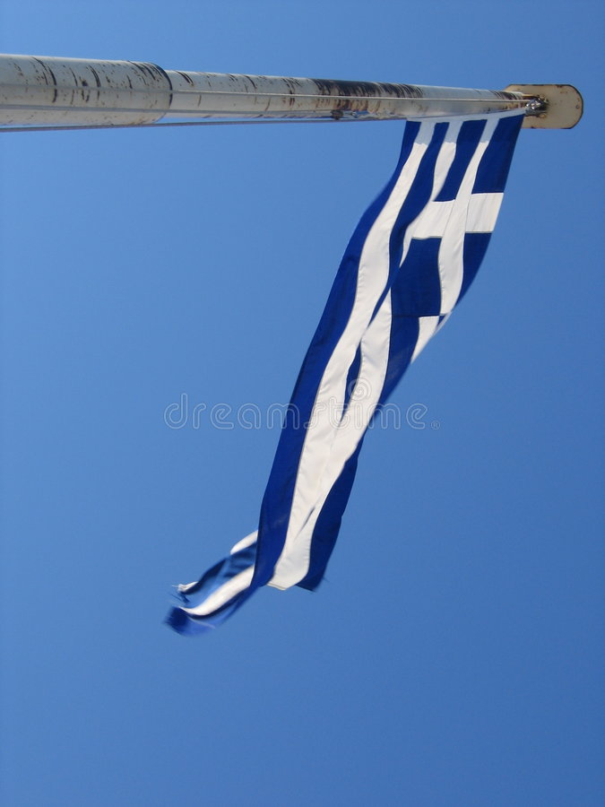 Greece Flag In Wind Royalty Free Stock Photos