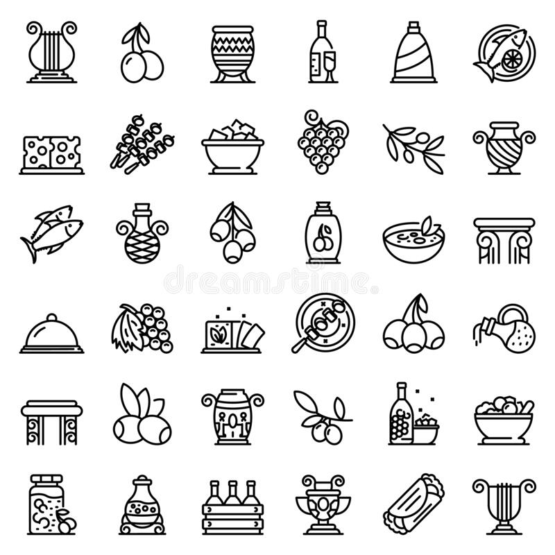 Free Greece Food Icons Set, Outline Style Stock Images - 189092964