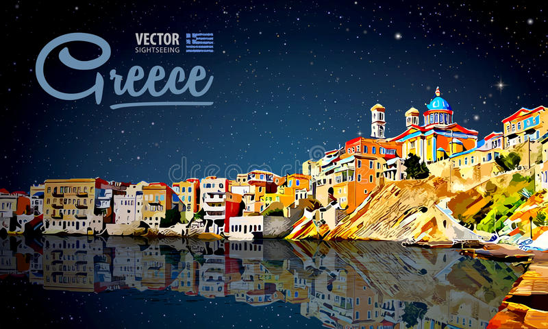Greece holidays - clear sea and the reflection. Islands. Panorama city. Landscape. Starry sky. Night. Vector vector illustration