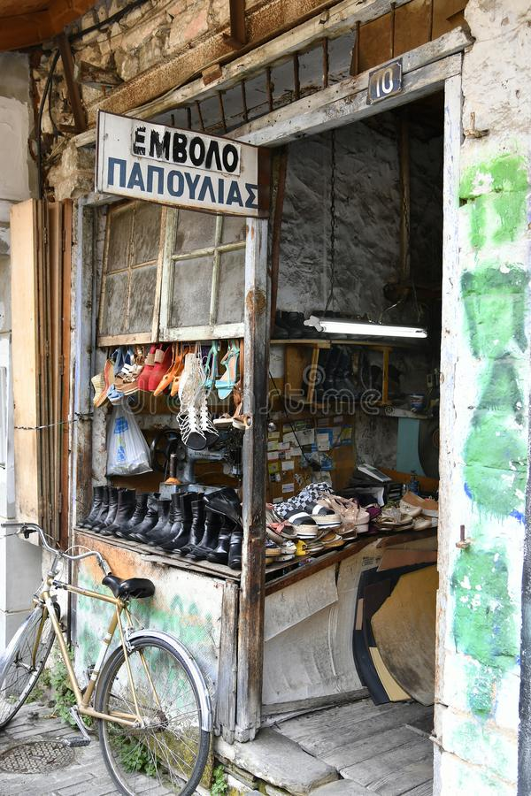 Greece, Ioannina, shoe repair stock photos