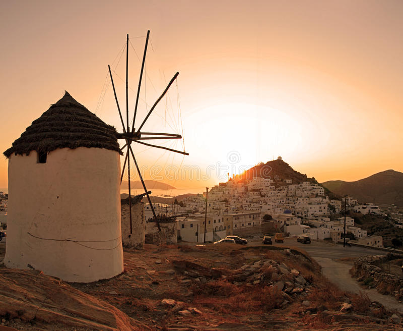 Greece, Ios Island, sunset royalty free stock photography