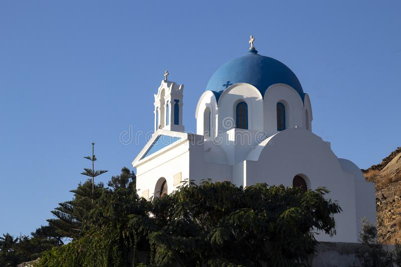 Greece,Ios. A whitewashed church. Late afternoon. stock image