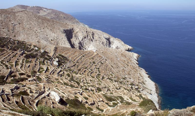 Greece,Folegandros. Sheer cliffs and sea. Greece, the island of Folegandros. Sheer cliffs seen from the islands capital the Hora.  Bare, barren terrain, but stock images