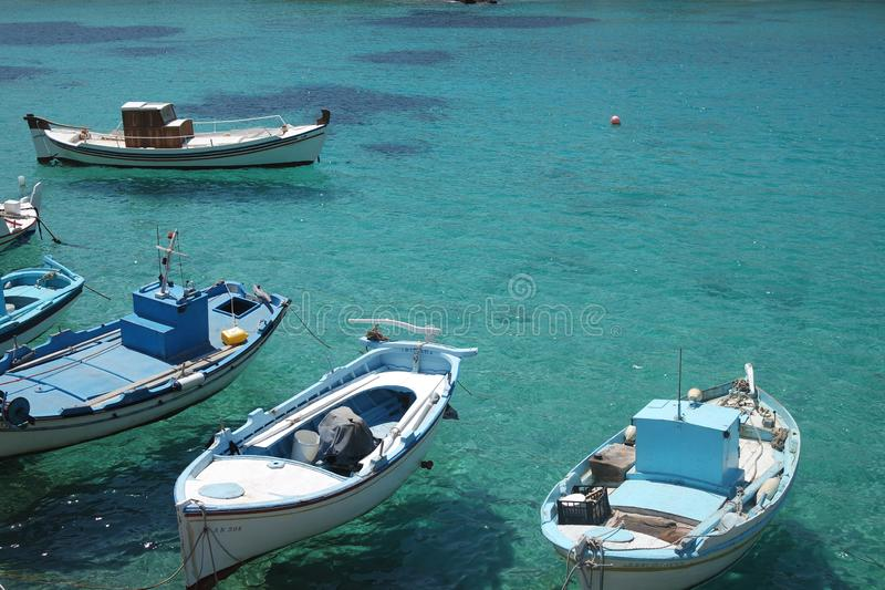 Greece, the island of Irakleia, fishing boats royalty free stock image