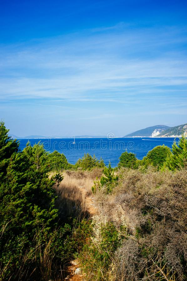 Greece - Ithaca 3. A view to the North - Western shore of Ithaca island, taken from Kefalonia royalty free stock photo