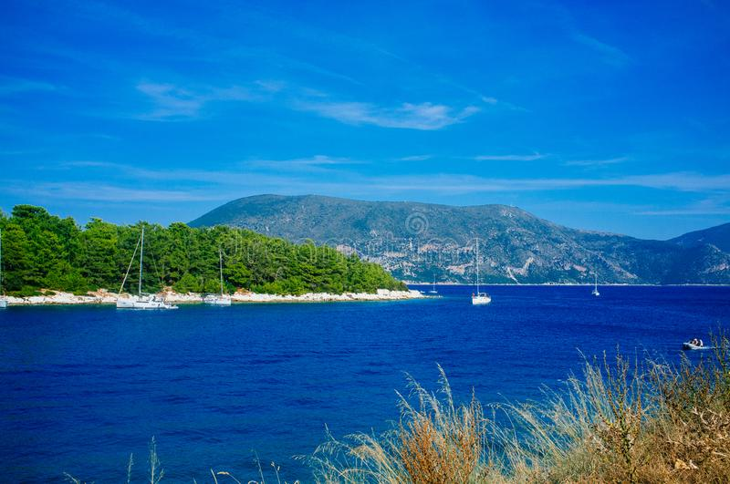 Greece - Ithaca 12. A view to the western shore of Ithaca island, taken from Kefalonia stock photo