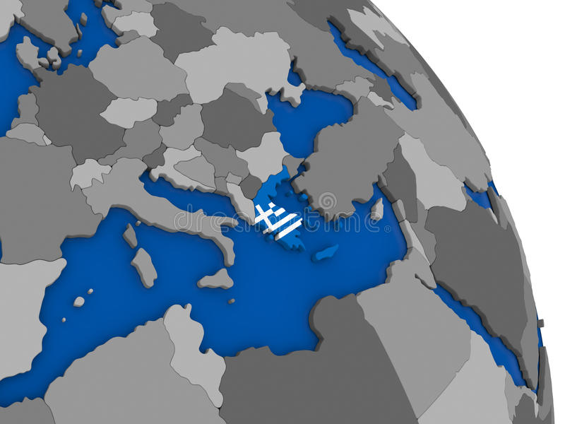 Greece and its flag on globe royalty free illustration
