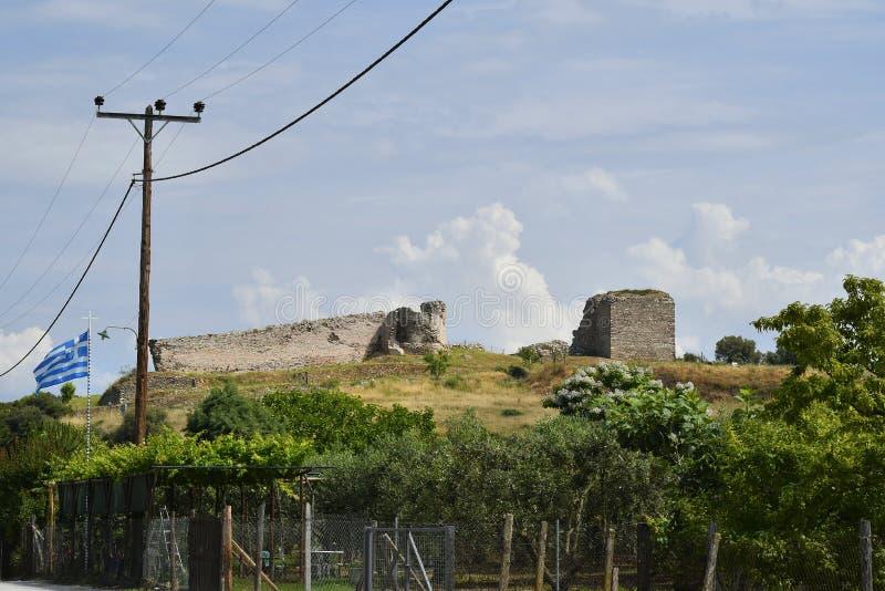 Greece , Kavala, Nea Peramos. Greece, Kavala, ancient castle of Anaktoroupolis royalty free stock photography
