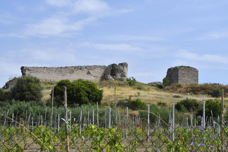 Greece , Kavala, Nea Peramos. Greece, Kavala, medieval castle of Anaktoroupolis stock photography