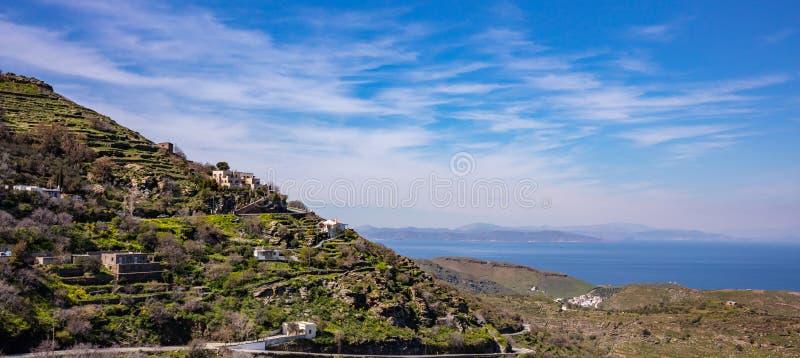 Greece, Kea island. Landscape, sunny day in spring, blue sky and sea background. Greece, Kea island. Landscape, some houses on the hill, sunny day in spring royalty free stock photo