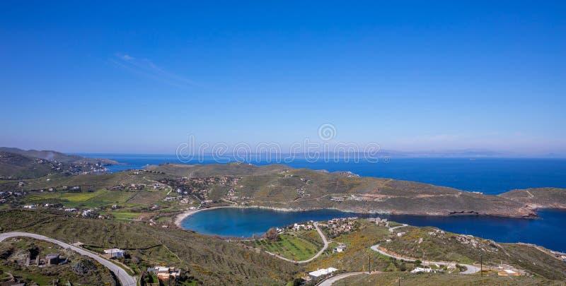 Greece. Kea island, Otzias. Blue sea and sky, landscape aerial view. Greece. Kea island. Blue calm sea water and sky, landscape in springtime, Otzias bay aerial royalty free stock image