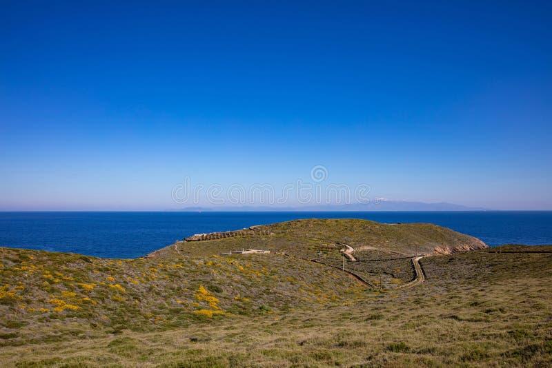 Greece. Kea island, Otzias. Blue sea and sky, landscape. Greece. Kea island. Blue calm sea water and sky, landscape in springtime royalty free stock image