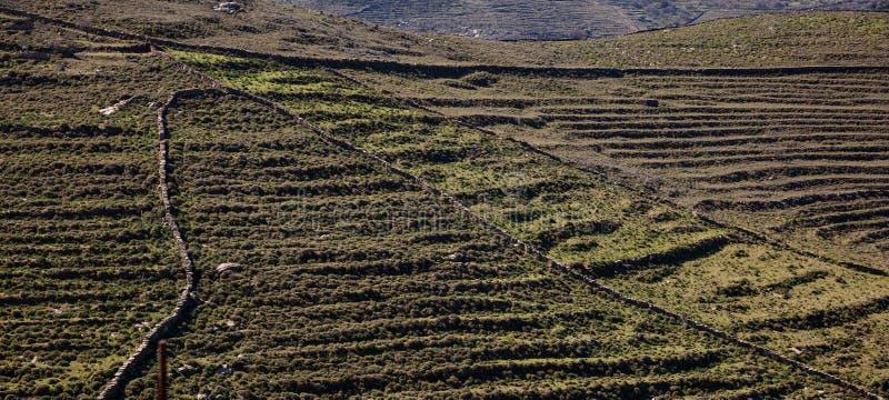 Greece. Kea island. Rocky landscape in springtime. Aerial view, banner stock photo