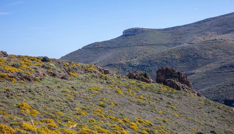 Greece. Kea island. Rocky landscape in springtime, blue clear sky. Background stock photography