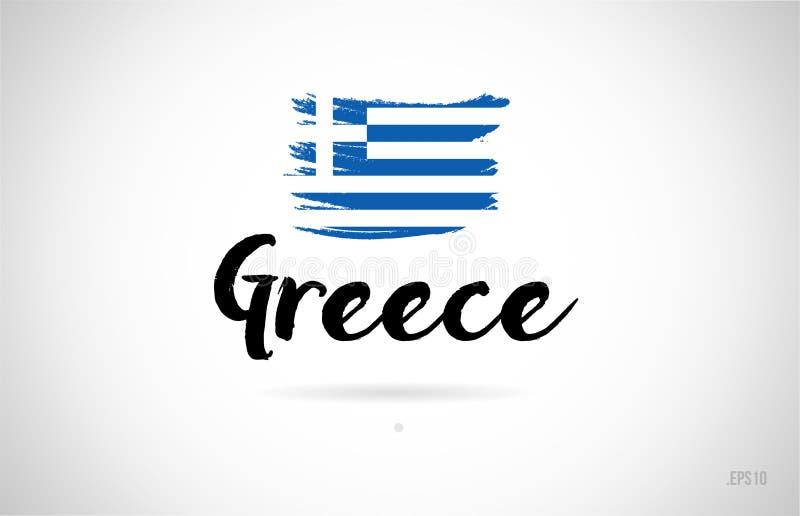 greece kraju flaga pojęcie z grunge projekta ikony logem ilustracji
