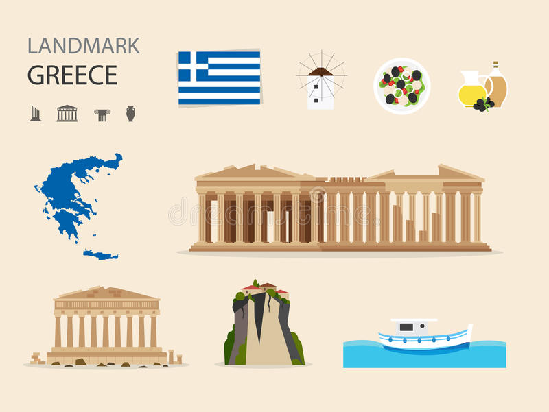 Greece Landmark Flat Icons Design .Vector Illustration. Concept Greece Landmark Flat Icons Design .Vector Illustration stock illustration