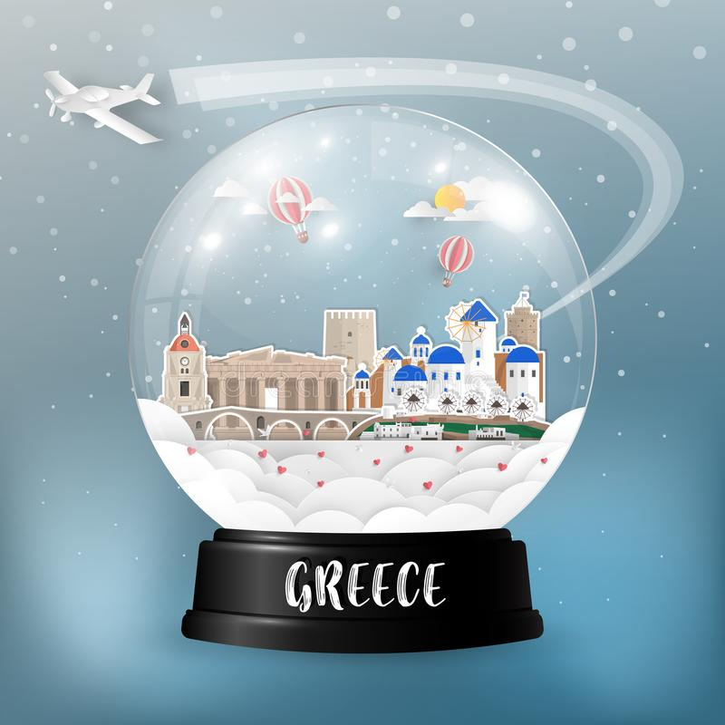 Greece Landmark Global Travel And Journey paper background. Vector Design Template.used for your. Advertisement, book, banner, template, travel business or royalty free illustration