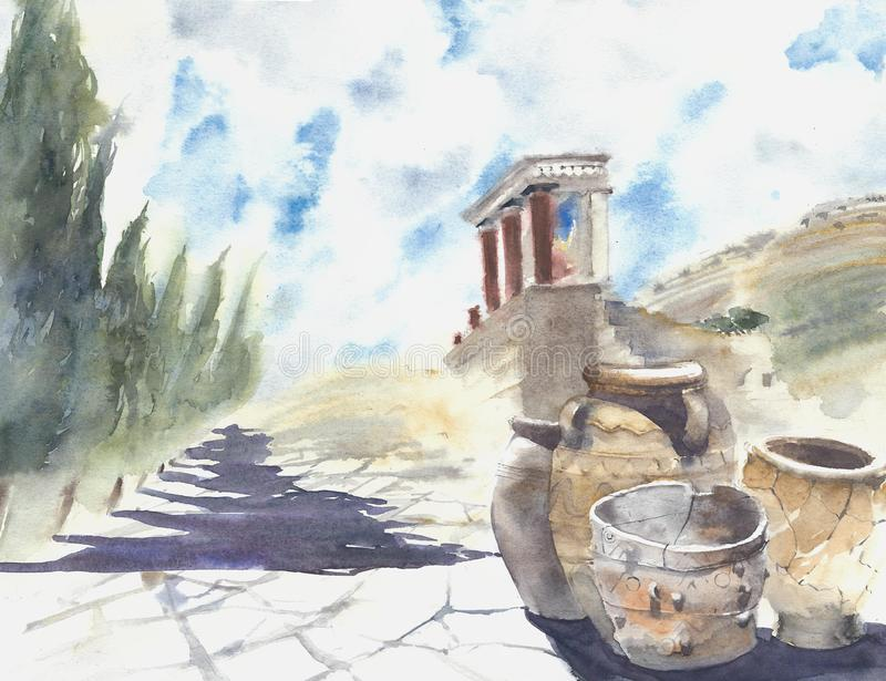 Greece landscape Crete ruins Knossos palace ancient jars cedars watercolor painting illustration stock illustration