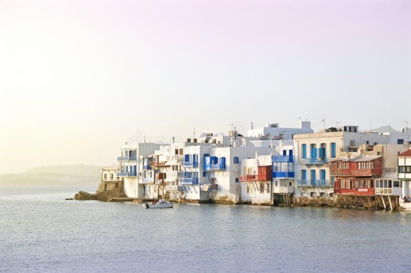 greece lilla mykonos venice royaltyfri bild