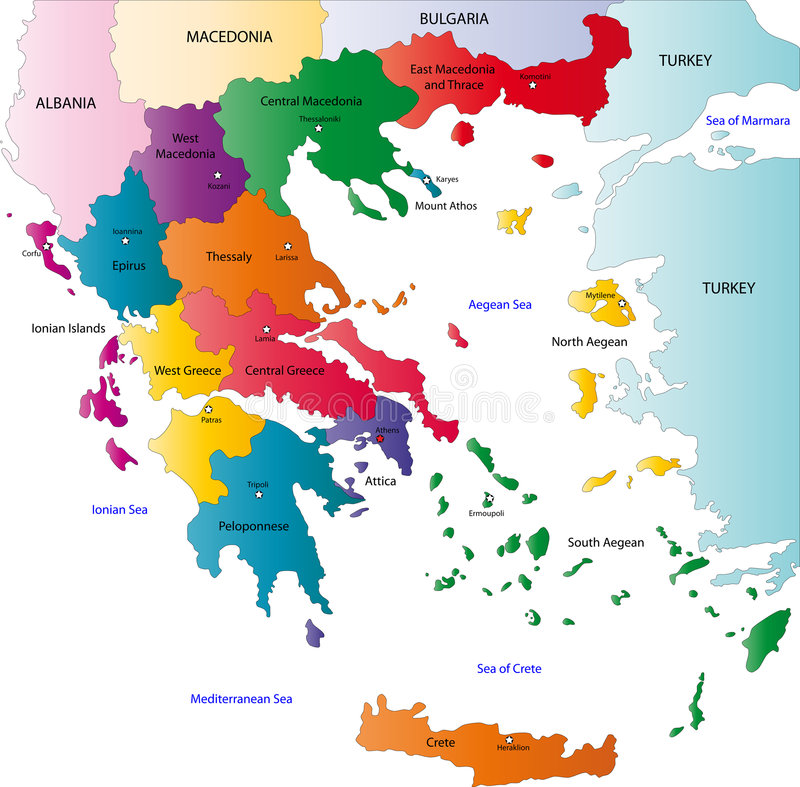 Greece map. Designed in illustration with the regions colored in bright colors and with the main cities. On an illustration neighbouring countries are shown too