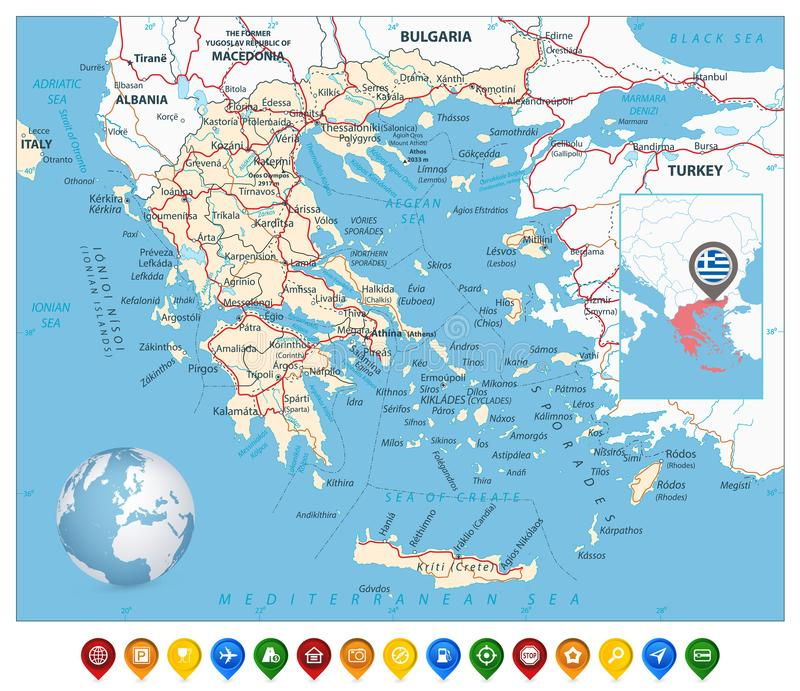 Greece Map And Colorful Map Markers Stock Vector Illustration of