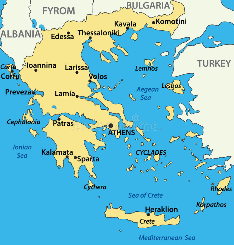Greece Map Of The Country Vector Stock Vector Illustration of