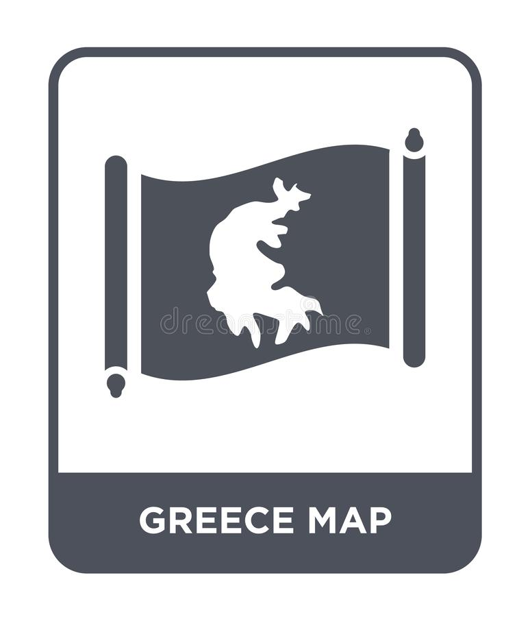 Greece map icon in trendy design style. greece map icon isolated on white background. greece map vector icon simple and modern. Flat symbol for web site, mobile vector illustration