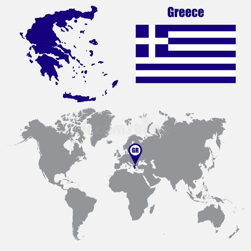 greece map on a world map with flag and map pointer vector illustration