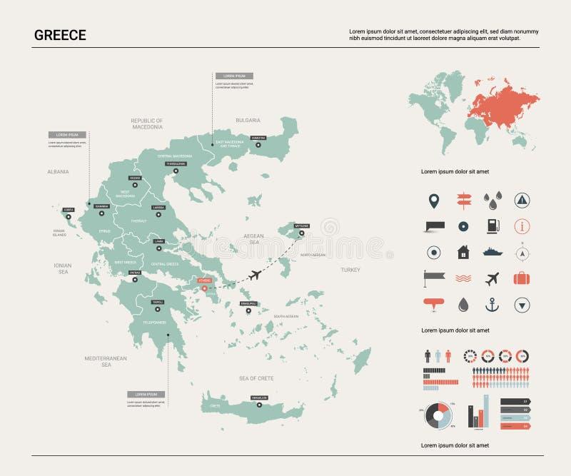 greece mapy wektor Wysoko?? wyszczeg ilustracji