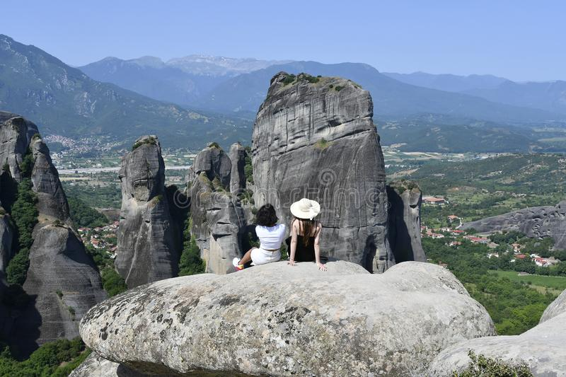 Greece, Meteora, two woman on sightseeing stock images