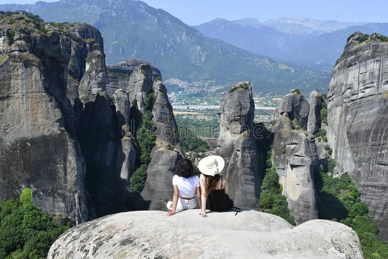 Greece, Meteora, woman on sightseeing stock photos